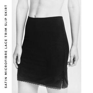 Black Minimalist Lace Trim Satin Slip Skirt